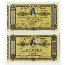 Banco De Pamplona, 1883 Issued Banknote Pair.