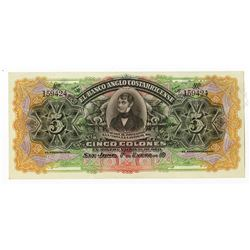 Banco Anglo Costarricense, ca.1900-1920, 5 Colones Series A, Remainder Banknote.