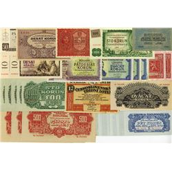 Czechoslovakia, 1919 to 1961 Issue Banknote Assortment.
