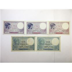 Banque De France, 1918-1932 Issue Banknote Assortment.