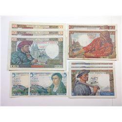 Banque De France, 1940-1947 Issues Banknote Assortment.