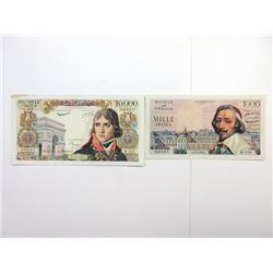 Banque De France, 1955 and 1958 issue Banknote Pair.