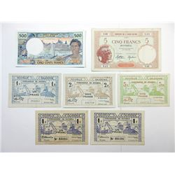 New Caledonia and Tahiti Banknote Assortment, ca.1943-1960's.