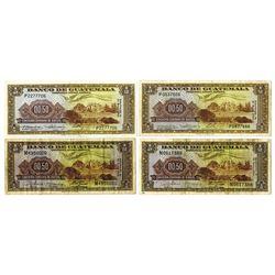 Banco De Guatemala, 1960 and 1967 Issue Banknote Quartet.