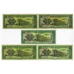 Banco De Guatemala, 1960 and 1971 Issue Banknote Group.