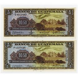 Banco De Guatemala, 1966 and 1970 Issue Banknote Pair.