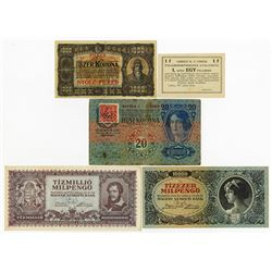Hungarian Banknote Assortment ca.1918-1940's.