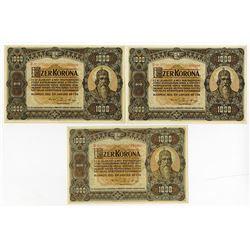 Hungary, State Notes of the Ministry of Finance, 1920 Banknote Trio.