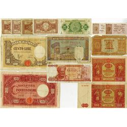 Banca D'Italia, 1944-45, 100 and 500 Lire & Additional Notes.