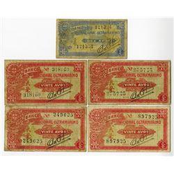 Banco Nacionla Ultramarino - Macau, Japanese Administration, 1944 ND Banknote group.