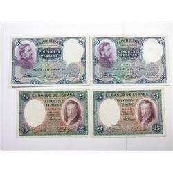 El Banco De Espana, 1931 Banknote Quartet.