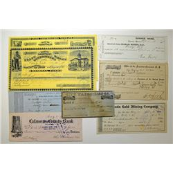 Nevada and California Checks, Warrants, Tax Receipts and Miscellaneous Gold Rush Items, ca.1857 to 1