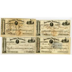 "Post Office Department ""Transportation of the Mails"", 1849-1857 Warrant Quartet."