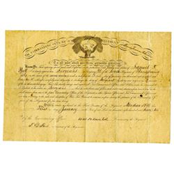Commanding Officer of the 104th Regiment 1862 Promotion Certificate