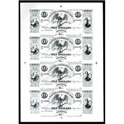 Planters & Mechanics Bank Uncut Sheet of 4 Proprietary Proofs.