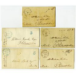 Johnstown, Pennsylvania Stampless Folded Letter Cover Assortment with contents, ca.1841-1848.