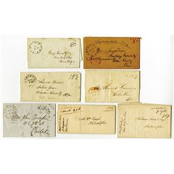 Pennsylvania Stampless Folded Letter Cover Assortment, Some with contents, ca.1842-1853.