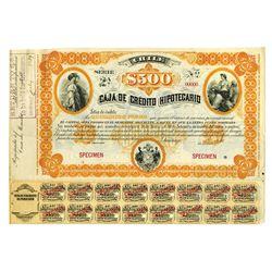 Caja De Credito Hipotecario, ca.1890-1900 Specimen Bond.