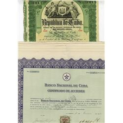 Cuban Stock and Bonds ca.1905-1956 6 Pieces.