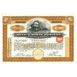 Mexico North Western Railway Co., 1910 Specimen Stock Certificate