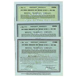 Mexico Tramways Co. 1916 Trio of Bonds