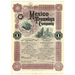 Mexico Tramways Co., 1933 Issued Stock Certificate
