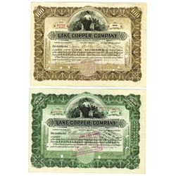Lake Copper Co., 1913-1916 Pair of Issued Stock Certificates Signed by W. A. Paine as President.