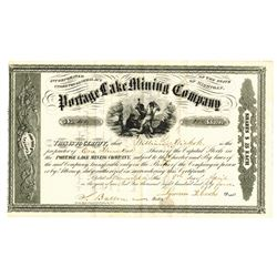 Michigan, Portage Lake Mining Co., 1854 Issued Stock Certificate