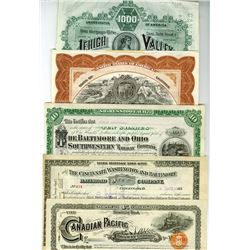 Assortment of Railroad/Municipal Certificates ca.1883-1928, 5 Pieces.