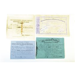 English Railway Stock Certificates Lot of 4 Issued.