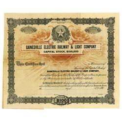 Gainesville Electric Railway & Light Co., ca.1900-1910 Specimen Stock Certificate