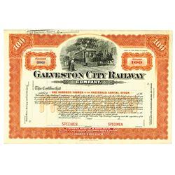 Galveston City Railway Co., ca.1900-1920 Specimen Stock Certificate