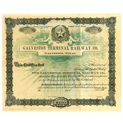 Galveston Terminal Railway Co., ca.1900-1909 Specimen Stock Certificate