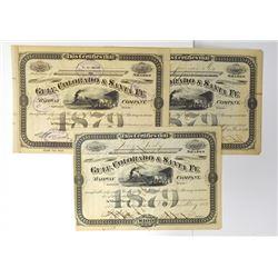 Gulf, Colorado & Santa Fe Railway Co., 1882-1946 Trio of Stock Certificates