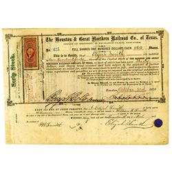 Houston & Great Northern Railroad Co. of Texas, 1871 Issued Stock Certificate