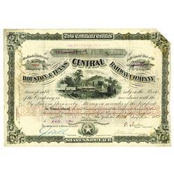 Houston & Texas Central Railway Co., 1881 Issued Stock Certificate