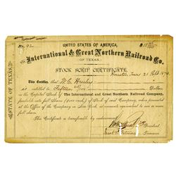 International & Great Northern Railroad Co., 1874 Issued Stock Scrip Certificate