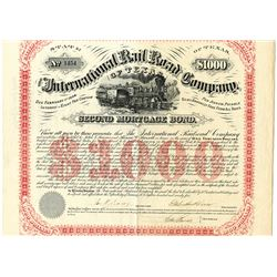 International Rail Road Co. of Texas, 1874 Issued Bond Signed by Galusha Grow as president.