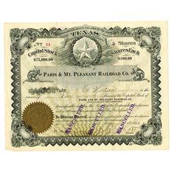Paris & Mt. Pleasant Railroad Co., 1912 Issued Stock Certificate