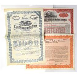 Trio of Railroad Related Bond Certificates ca.1897-1953