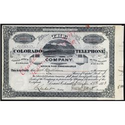 Colorado Telephone Co., 1883 Stock Certificate.