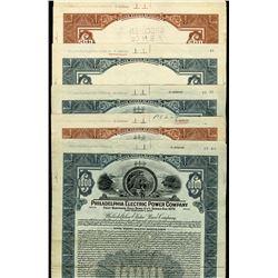 Philadelphia Electric Power Co., 1926 Specimen Bond Production File Assortment.