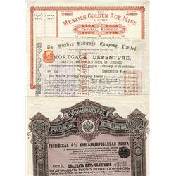 Assortment of Worldwide Certificates ca.1885-1897, 3 Pieces.