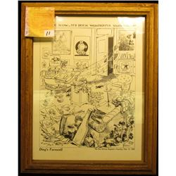 "9 3/4"" x 12 3/4"" Glass Framed Print of Cartoon  ""Ding's Farewell The Des Moines Register--Tuesday, F"