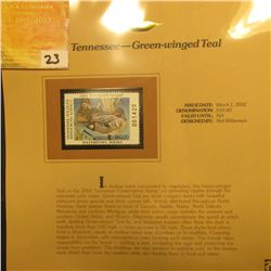 2002 Tennessee Waterfowl Stamp $10.00, Mint Condition in plastic sleeve with literature, unsigned. D