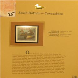 2002 South Dakota Waterfowl Stamp $3.00, Mint Condition in plastic sleeve with literature, unsigned.