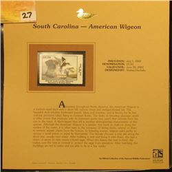 2002 South Carolina Waterfowl Stamp $5.50, Mint Condition in plastic sleeve with literature, unsigne