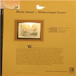 2002 Rhode Island Waterfowl Stamp $7.50, Mint Condition in plastic sleeve with literature, unsigned.
