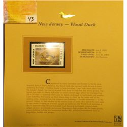 2002 New Jersey Waterfowl Stamp $5.00, Mint Condition in plastic sleeve with literature, unsigned. D