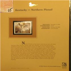 2002  Kentucky Waterfowl Stamp $7.50, Mint Condition in plastic sleeve with literature, unsigned. De